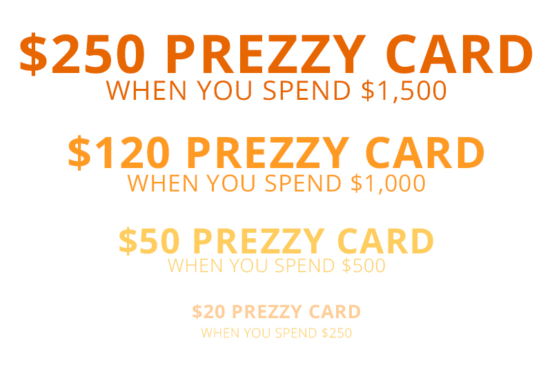 Purchase RF images and receive a prezzy card valued up to $250